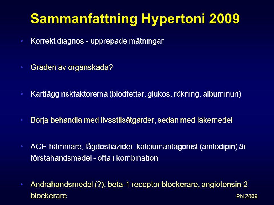 Sammanfattning Hypertoni 2009 Korrekt diagnos - upprepade mätningar Graden av organskada.