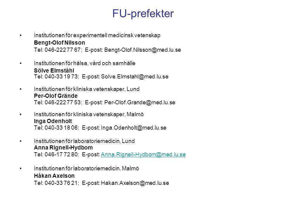 FU-prefekter Institutionen för experimentell medicinsk vetenskap Bengt-Olof Nilsson Tel: 046-222 77 67; E-post: Bengt-Olof.Nilsson@med.lu.se Instituti