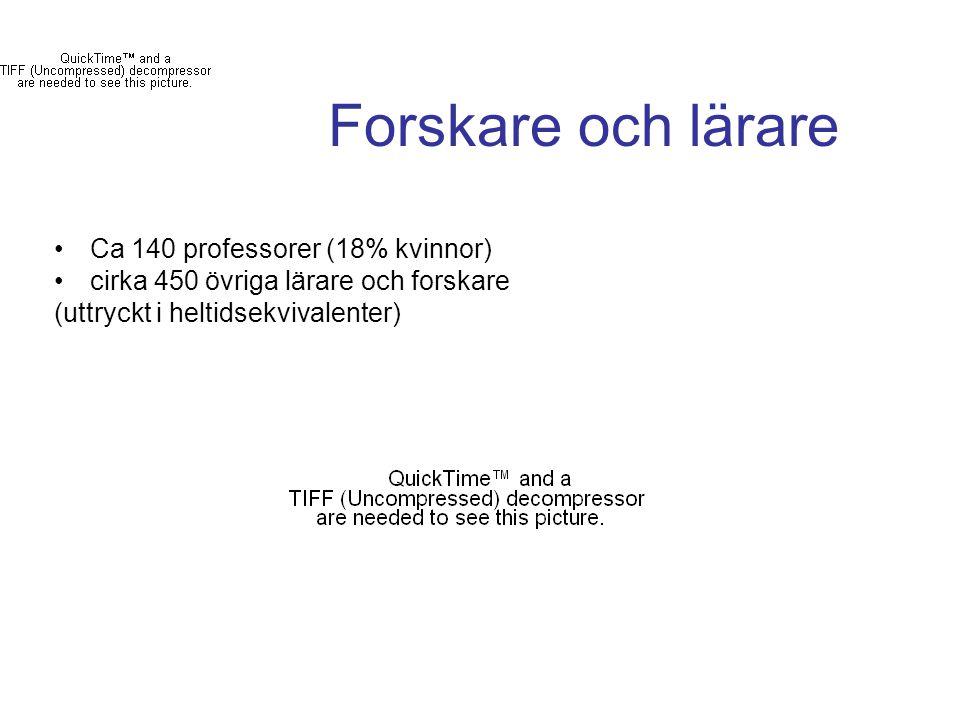 Forskare och lärare Ca 140 professorer (18% kvinnor) cirka 450 övriga lärare och forskare (uttryckt i heltidsekvivalenter)