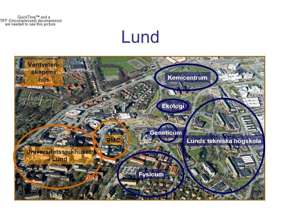 Lund Universitetssjukhuset i Lund BMC Kemicentrum Lunds tekniska högskola Ekologi Geneticum Fysicum Vårdveten- skapens hus