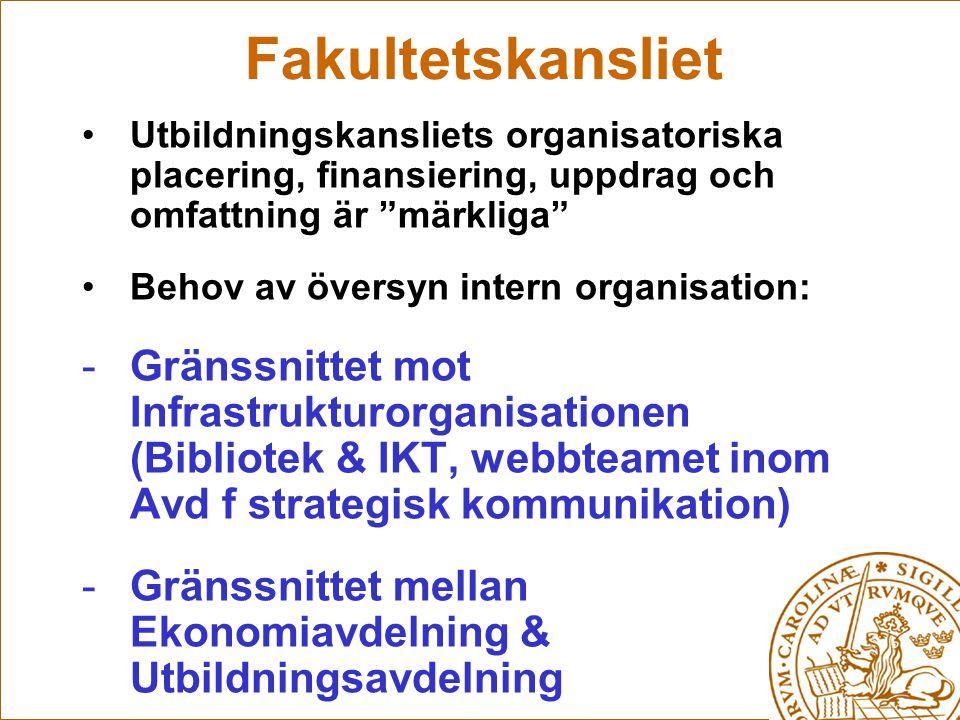 Fakultetskansliet Utbildningskansliets organisatoriska placering, finansiering, uppdrag och omfattning är märkliga Behov av översyn intern organisation: -Gränssnittet mot Infrastrukturorganisationen (Bibliotek & IKT, webbteamet inom Avd f strategisk kommunikation) -Gränssnittet mellan Ekonomiavdelning & Utbildningsavdelning -Organisation & ledning av Ledningsstöd