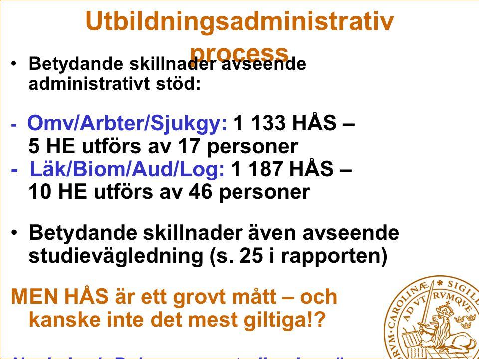 Utbildningsadministrativ process Betydande skillnader avseende administrativt stöd: - Omv/Arbter/Sjukgy: 1 133 HÅS – 5 HE utförs av 17 personer - Läk/Biom/Aud/Log: 1 187 HÅS – 10 HE utförs av 46 personer Betydande skillnader även avseende studievägledning (s.