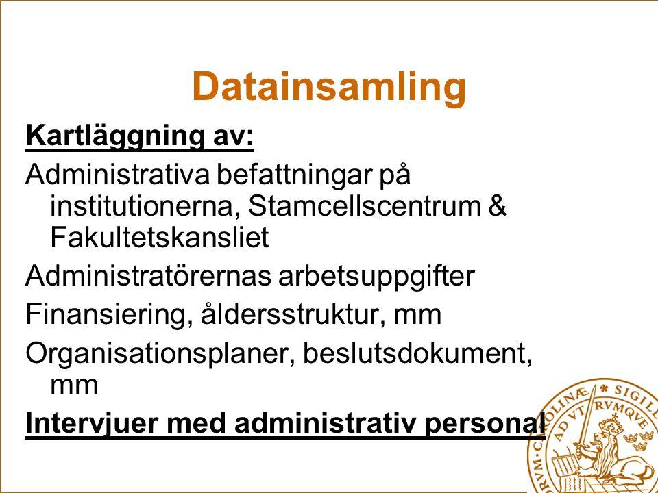 Datainsamling Kartläggning av: Administrativa befattningar på institutionerna, Stamcellscentrum & Fakultetskansliet Administratörernas arbetsuppgifter Finansiering, åldersstruktur, mm Organisationsplaner, beslutsdokument, mm Intervjuer med administrativ personal