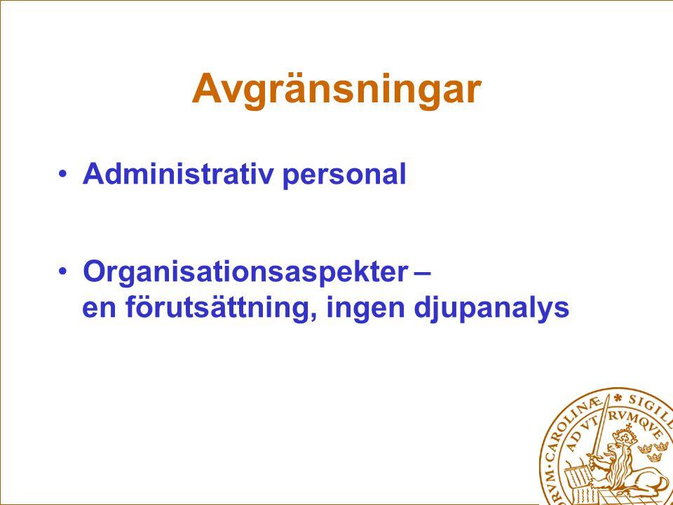 Avgränsningar Administrativ personal Organisationsaspekter – en förutsättning, ingen djupanalys