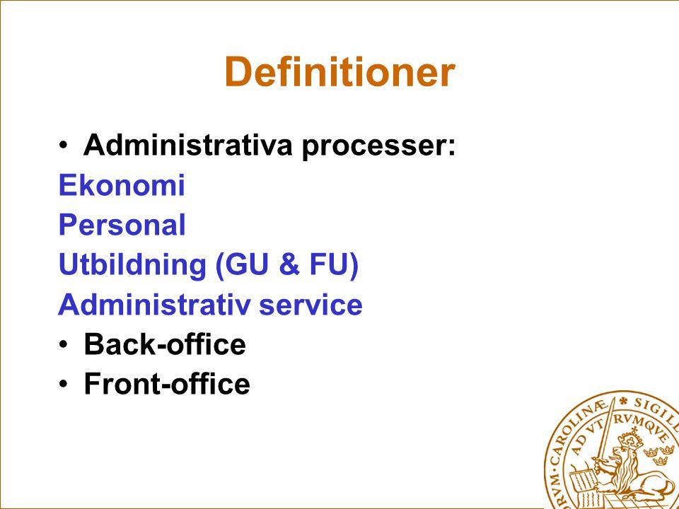 Definitioner Administrativa processer: Ekonomi Personal Utbildning (GU & FU) Administrativ service Back-office Front-office