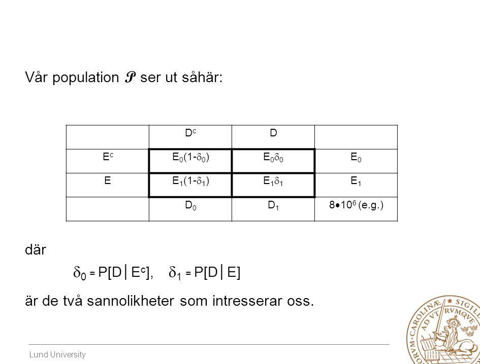 Lund University Vår population P ser ut såhär: där  0 = P[D│E c ],  1 = P[D│E] är de två sannolikheter som intresserar oss.