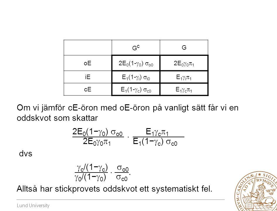 Lund University GcGc G oE 2E 0 (1-  0 )  o0 2E 0  0  1 iE E 1 (1-  i )  i0 E1i1E1i1 cEE 1 (1-  c )  c0 E1c1E1c1