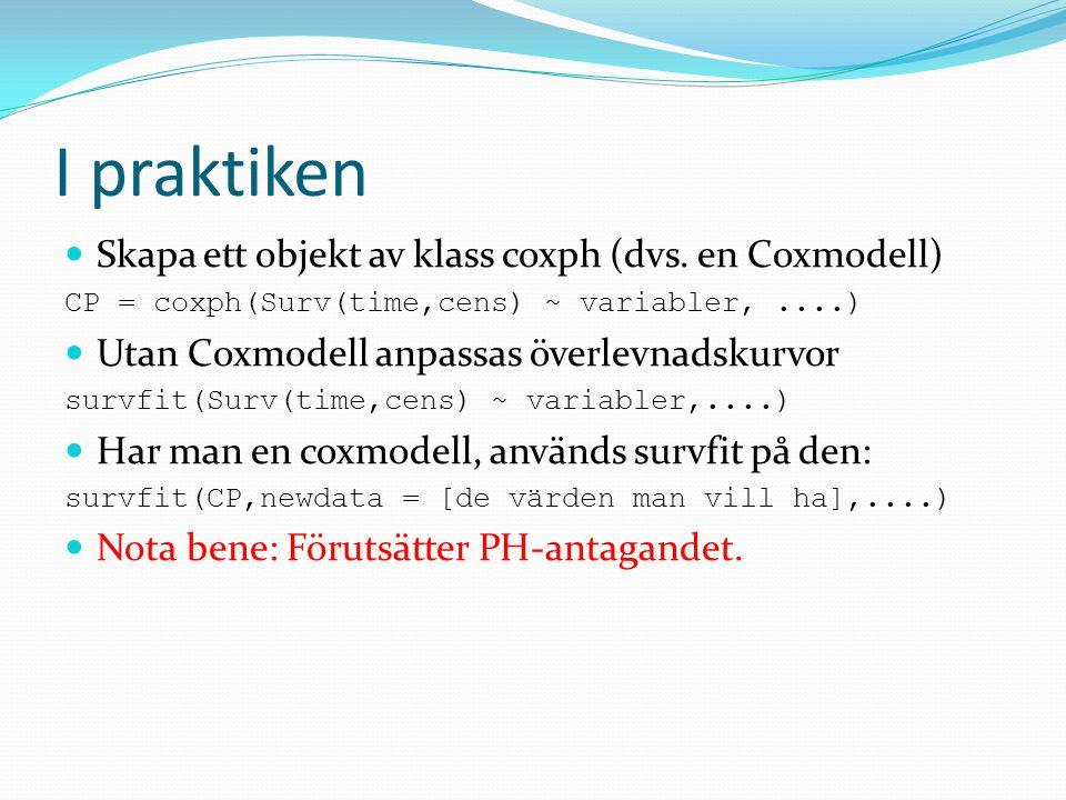 I praktiken Skapa ett objekt av klass coxph (dvs. en Coxmodell) CP = coxph(Surv(time,cens) ~ variabler,....) Utan Coxmodell anpassas överlevnadskurvor