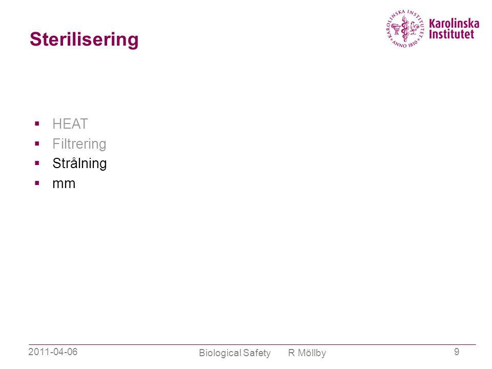 2011-04-06 Biological Safety R Möllby 9 Sterilisering  HEAT  Filtrering  Strålning  mm