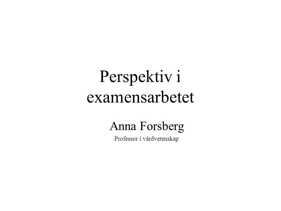 Perspektiv i examensarbetet Anna Forsberg Professor i vårdvetenskap