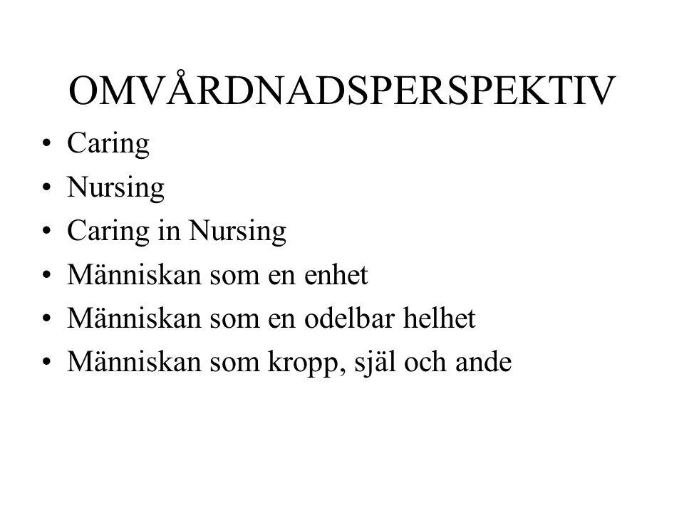 OMVÅRDNADSPERSPEKTIV Caring Nursing Caring in Nursing Människan som en enhet Människan som en odelbar helhet Människan som kropp, själ och ande