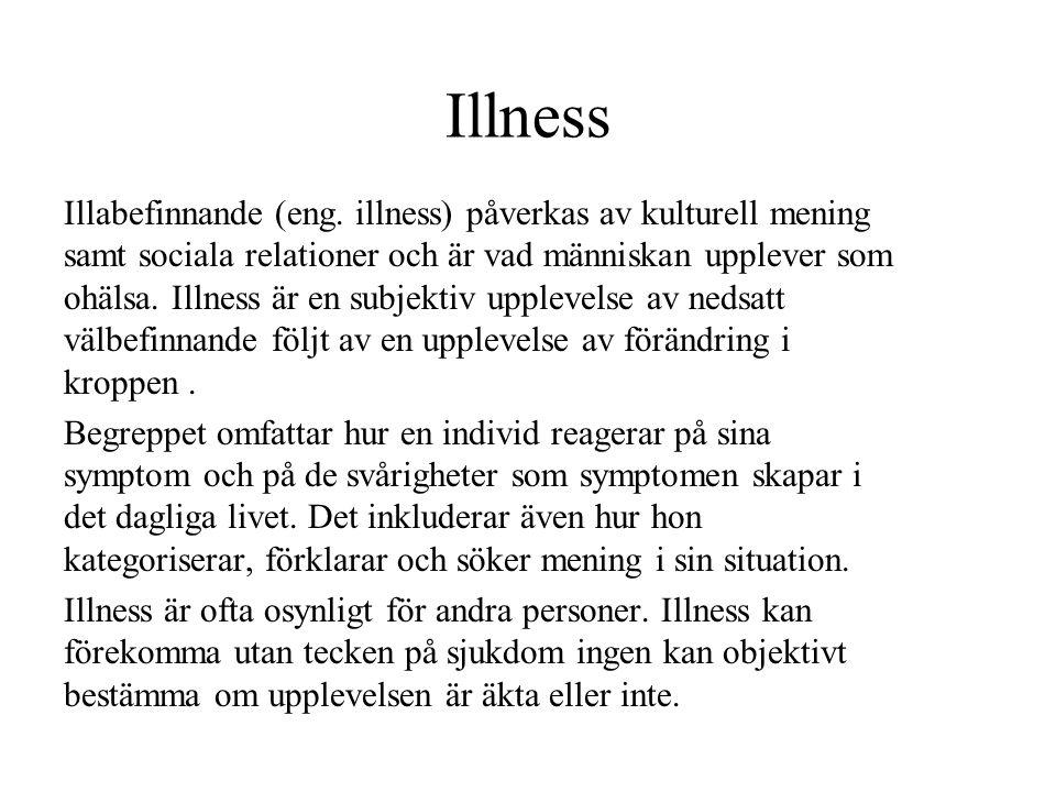 Illness Illabefinnande (eng. illness) påverkas av kulturell mening samt sociala relationer och är vad människan upplever som ohälsa. Illness är en sub
