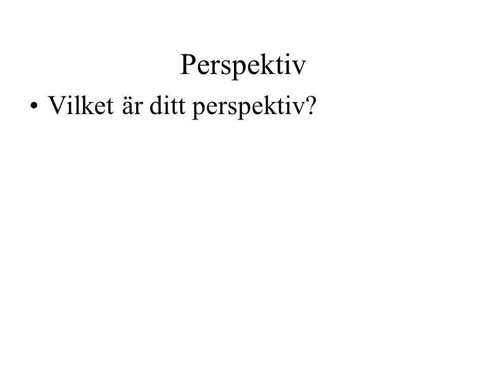 Perspektiv Vilket är ditt perspektiv?