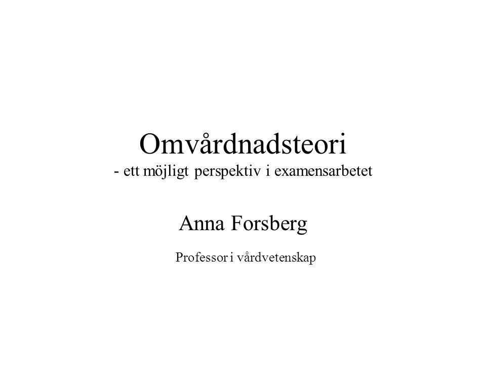 Omvårdnadsteori - ett möjligt perspektiv i examensarbetet Anna Forsberg Professor i vårdvetenskap