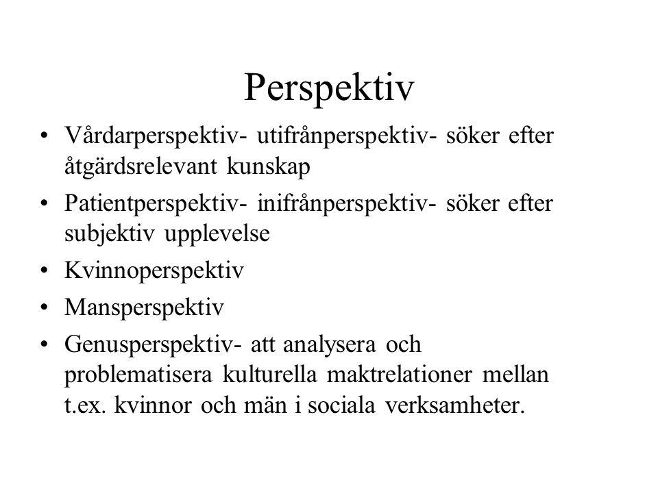 Perspektiv Vårdarperspektiv- utifrånperspektiv- söker efter åtgärdsrelevant kunskap Patientperspektiv- inifrånperspektiv- söker efter subjektiv upplev