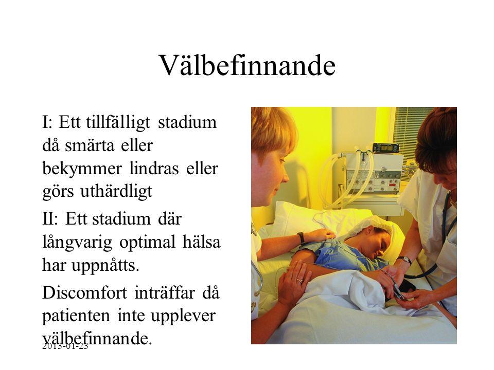 Välbefinnande I: Ett tillfälligt stadium då smärta eller bekymmer lindras eller görs uthärdligt II: Ett stadium där långvarig optimal hälsa har uppnåt