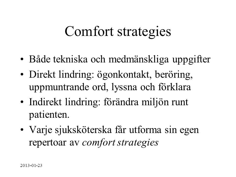 Comfort strategies Både tekniska och medmänskliga uppgifter Direkt lindring: ögonkontakt, beröring, uppmuntrande ord, lyssna och förklara Indirekt lin