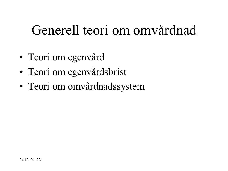 Generell teori om omvårdnad Teori om egenvård Teori om egenvårdsbrist Teori om omvårdnadssystem 2013-01-23