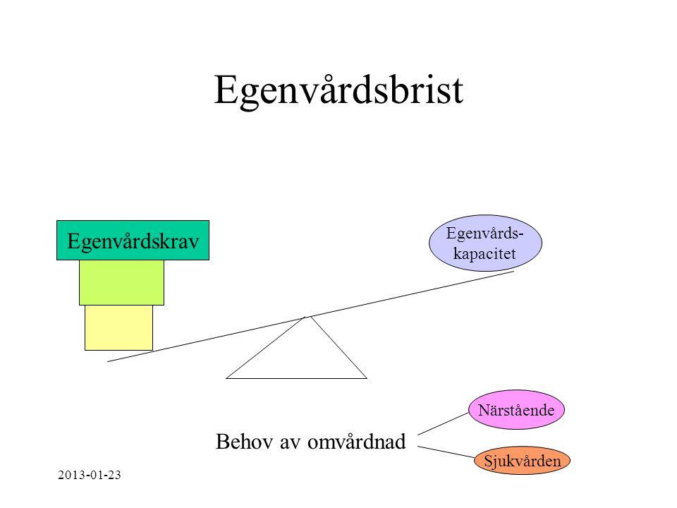 Egenvårdsbrist Egenvårds- kapacitet Egenvårdskrav Behov av omvårdnad Närstående Sjukvården 2013-01-23