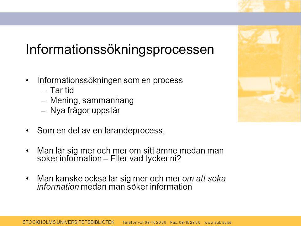 STOCKHOLMS UNIVERSITETSBIBLIOTEK Te l e f o n v x l: 0 8-1 6 2 0 0 0 F ax: 0 8-15 2 8 0 0 w w w.s u b.s u.se Informationssökningsprocessen Informationssökningen som en process –Tar tid –Mening, sammanhang –Nya frågor uppstår Som en del av en lärandeprocess.