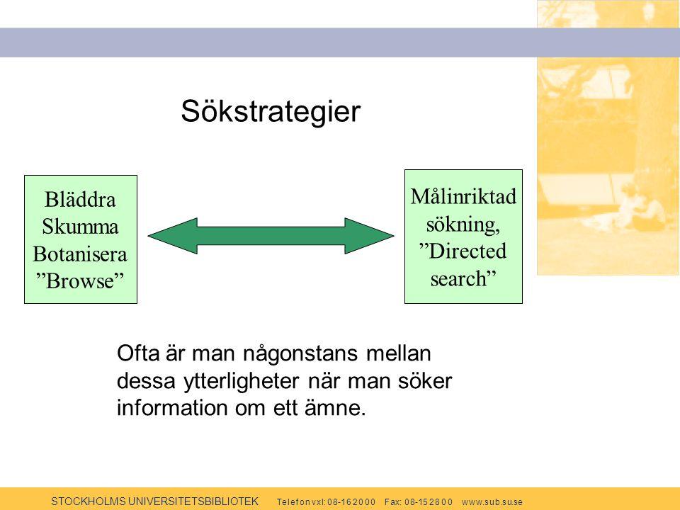 STOCKHOLMS UNIVERSITETSBIBLIOTEK Te l e f o n v x l: 0 8-1 6 2 0 0 0 F ax: 0 8-15 2 8 0 0 w w w.s u b.s u.se Sökstrategier Bläddra Skumma Botanisera Browse Målinriktad sökning Directed search Ofta är man någonstans mellan dessa ytterligheter när man söker information om ett ämne.