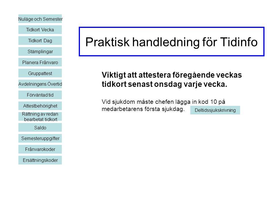 Praktisk handledning för Tidinfo Nuläge och Semester Tidkort Vecka Planera Frånvaro Gruppattest Avdelningens Övertid Förväntad tid Rättning av redan b