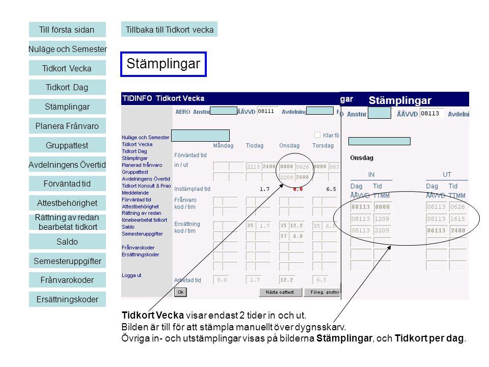 Stämplingar Nuläge och Semester Tidkort Vecka Planera Frånvaro Gruppattest Avdelningens Övertid Förväntad tid Rättning av redan bearbetat tidkort Sald