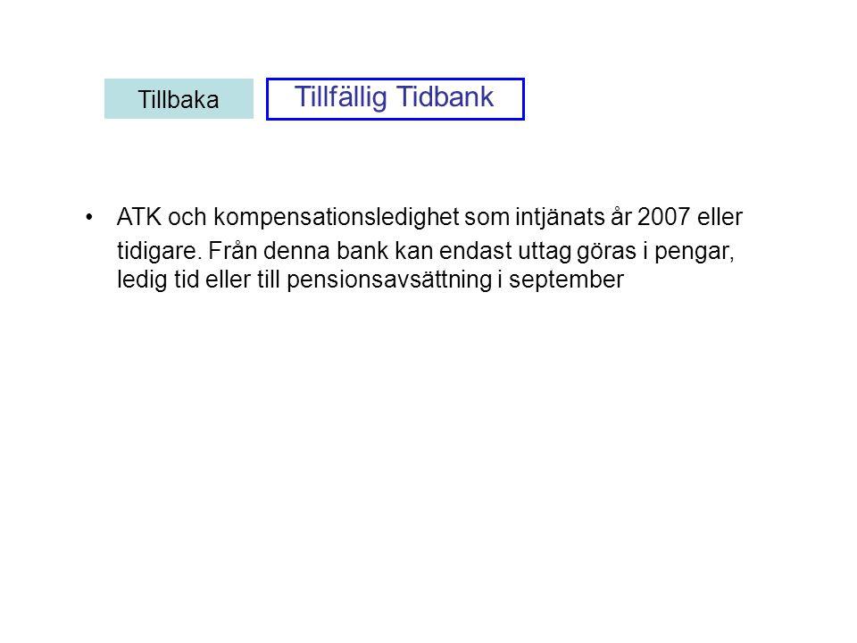 ATK och kompensationsledighet som intjänats år 2007 eller tidigare. Från denna bank kan endast uttag göras i pengar, ledig tid eller till pensionsavsä