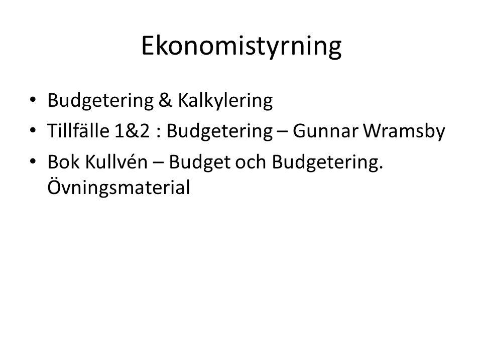 Ekonomistyrning Budgetering & Kalkylering Tillfälle 1&2 : Budgetering – Gunnar Wramsby Bok Kullvén – Budget och Budgetering. Övningsmaterial