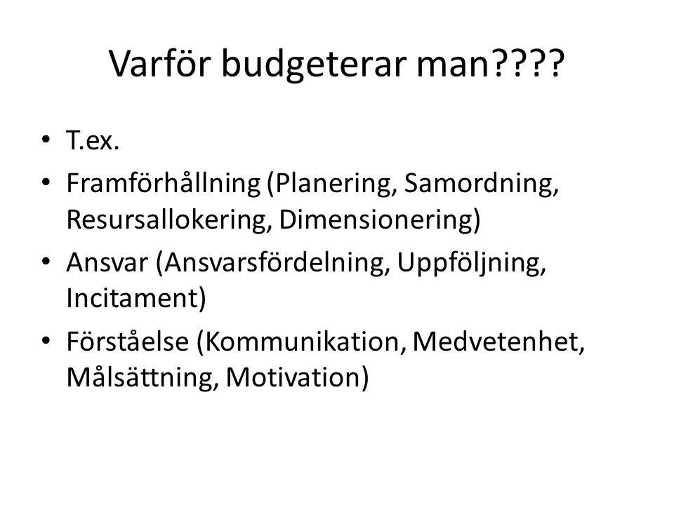 Varför budgeterar man???? T.ex. Framförhållning (Planering, Samordning, Resursallokering, Dimensionering) Ansvar (Ansvarsfördelning, Uppföljning, Inci