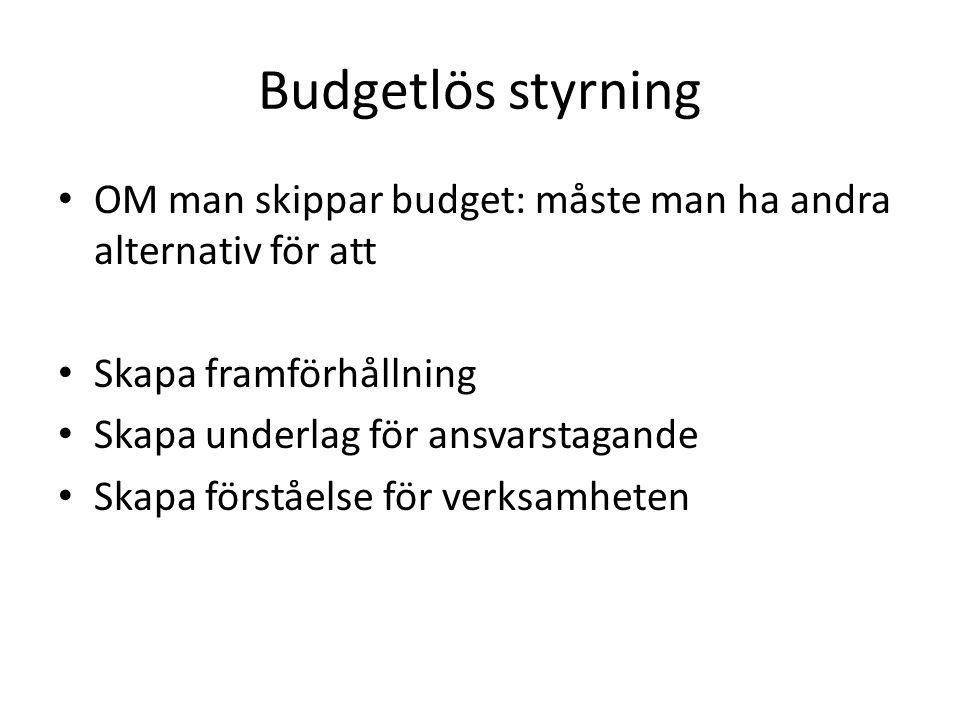 Budgetlös styrning OM man skippar budget: måste man ha andra alternativ för att Skapa framförhållning Skapa underlag för ansvarstagande Skapa förståel