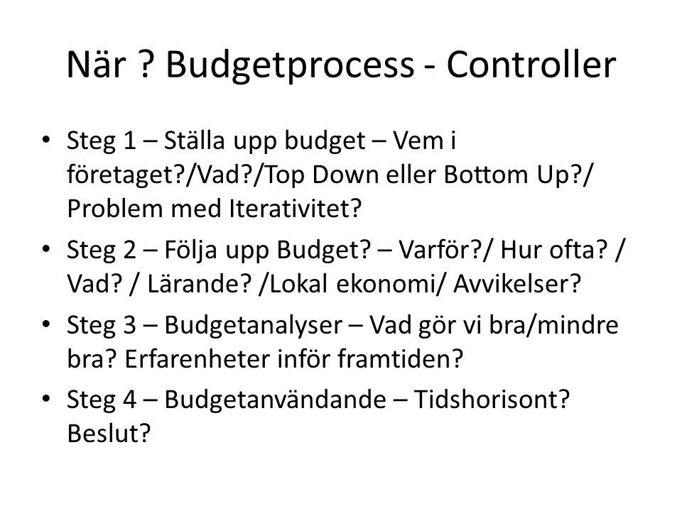 När ? Budgetprocess - Controller Steg 1 – Ställa upp budget – Vem i företaget?/Vad?/Top Down eller Bottom Up?/ Problem med Iterativitet? Steg 2 – Följ