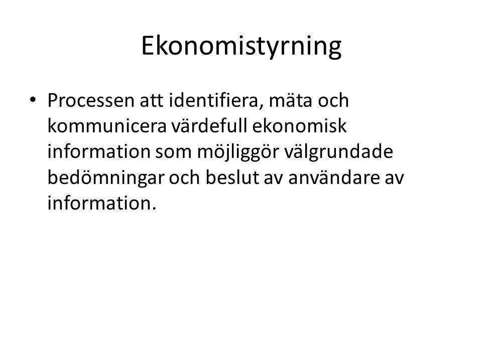 Ekonomistyrning Processen att identifiera, mäta och kommunicera värdefull ekonomisk information som möjliggör välgrundade bedömningar och beslut av an