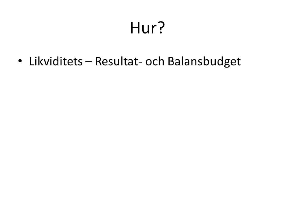 Hur? Likviditets – Resultat- och Balansbudget