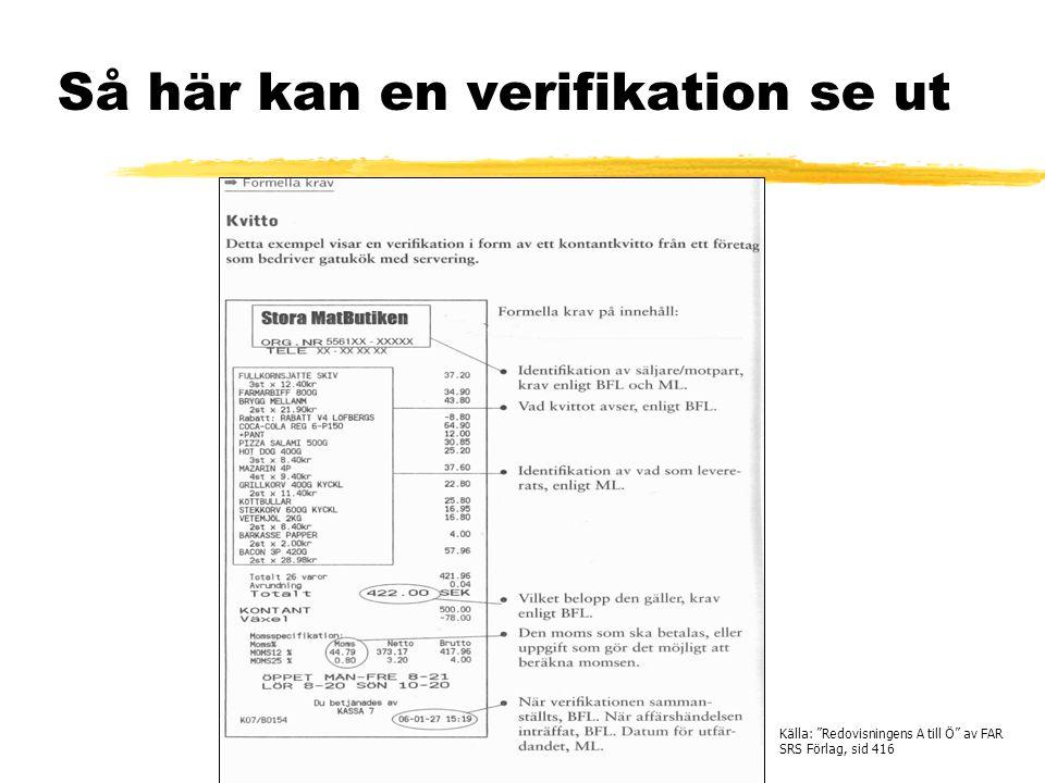 """Så här kan en verifikation se ut Källa: """"Redovisningens A till Ö"""" av FAR SRS Förlag, sid 416"""