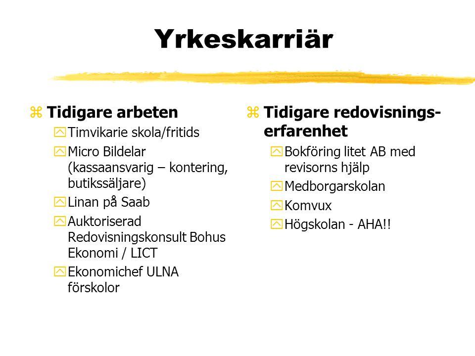 Yrkeskarriär zTidigare arbeten yTimvikarie skola/fritids yMicro Bildelar (kassaansvarig – kontering, butikssäljare) yLinan på Saab yAuktoriserad Redov