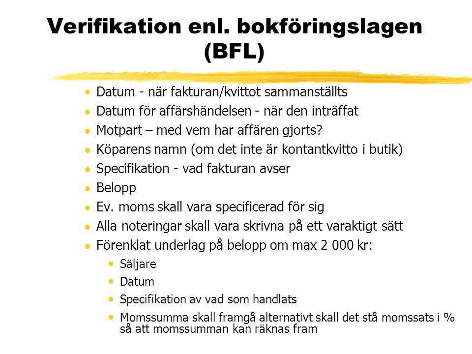 Verifikation enl. bokföringslagen (BFL) Datum - när fakturan/kvittot sammanställts  Datum för affärshändelsen - när den inträffat  Motpart – med vem