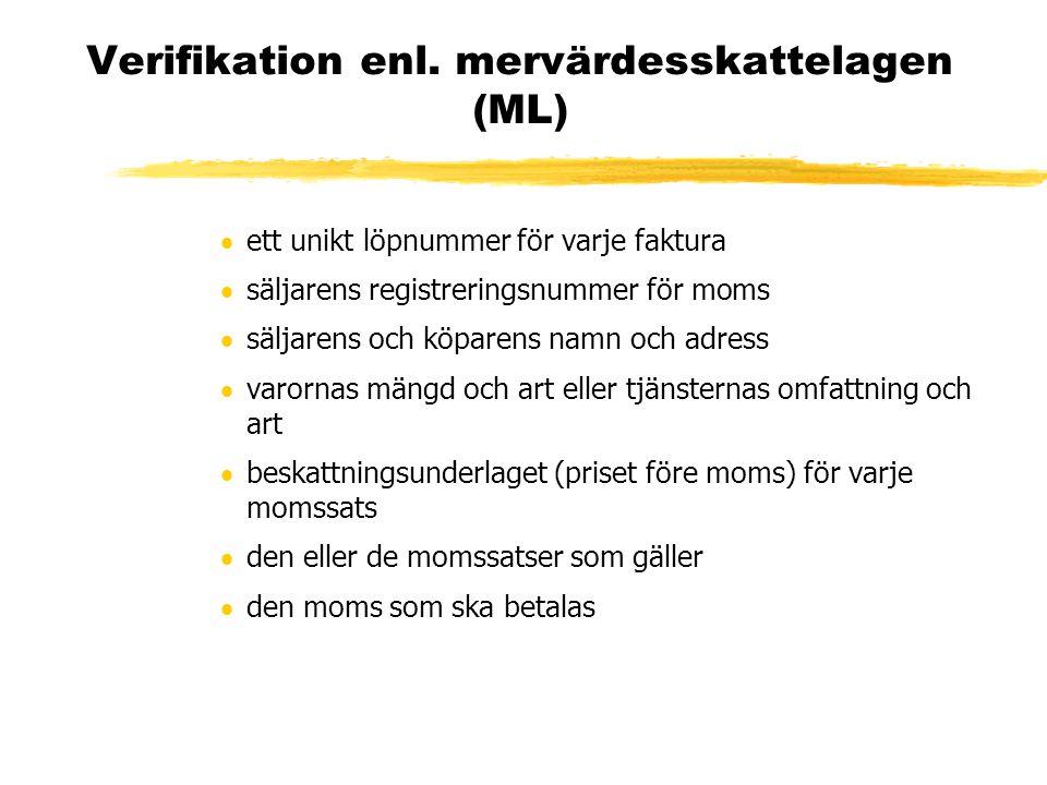 Verifikation enl. mervärdesskattelagen (ML)  ett unikt löpnummer för varje faktura  säljarens registreringsnummer för moms  säljarens och köparens