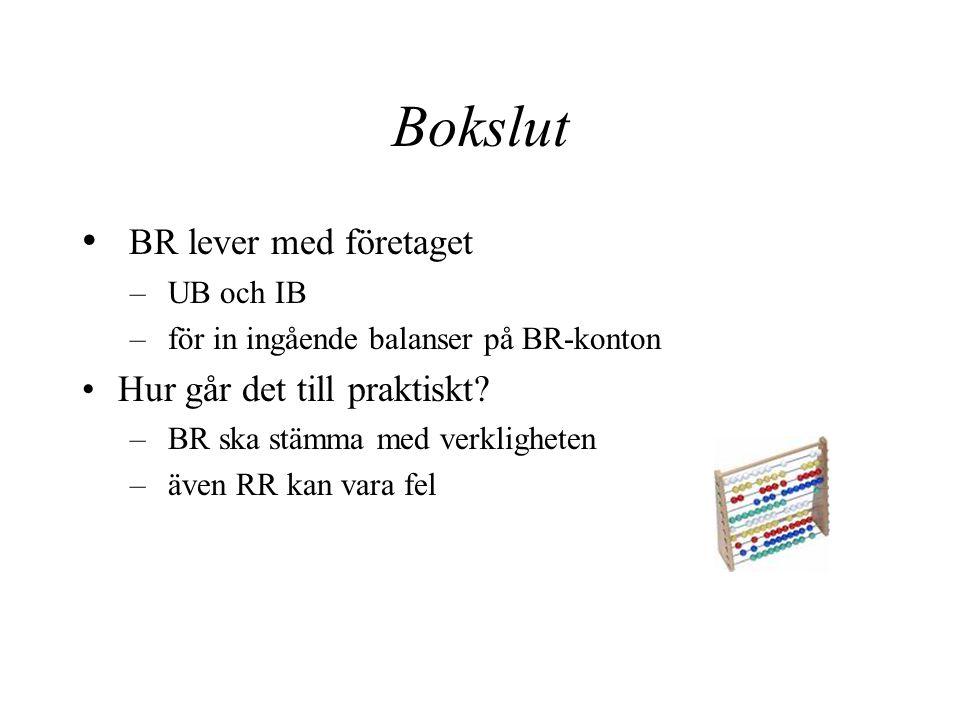 Bokslut Datoriserad bokföring – läser av kontona Manuell bokföring – avsluta resultatkonton mot RR – för över resultat till eget kapital-konto – avsluta balansräkningskonton mot BR – BR ska stämma….