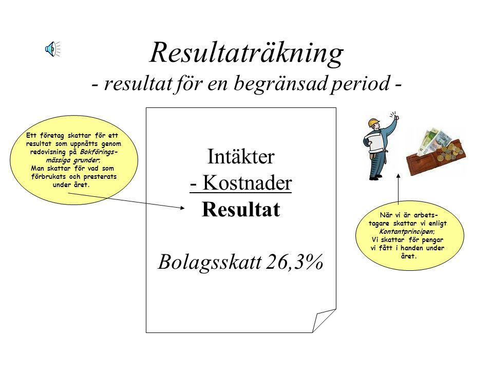 Resultaträkning - resultat för en begränsad period - Intäkter - Kostnader Resultat Bolagsskatt 26,3% Ett företag skattar för ett resultat som uppnåtts genom redovisning på Bokförings- mässiga grunder; Man skattar för vad som förbrukats och presterats under året.