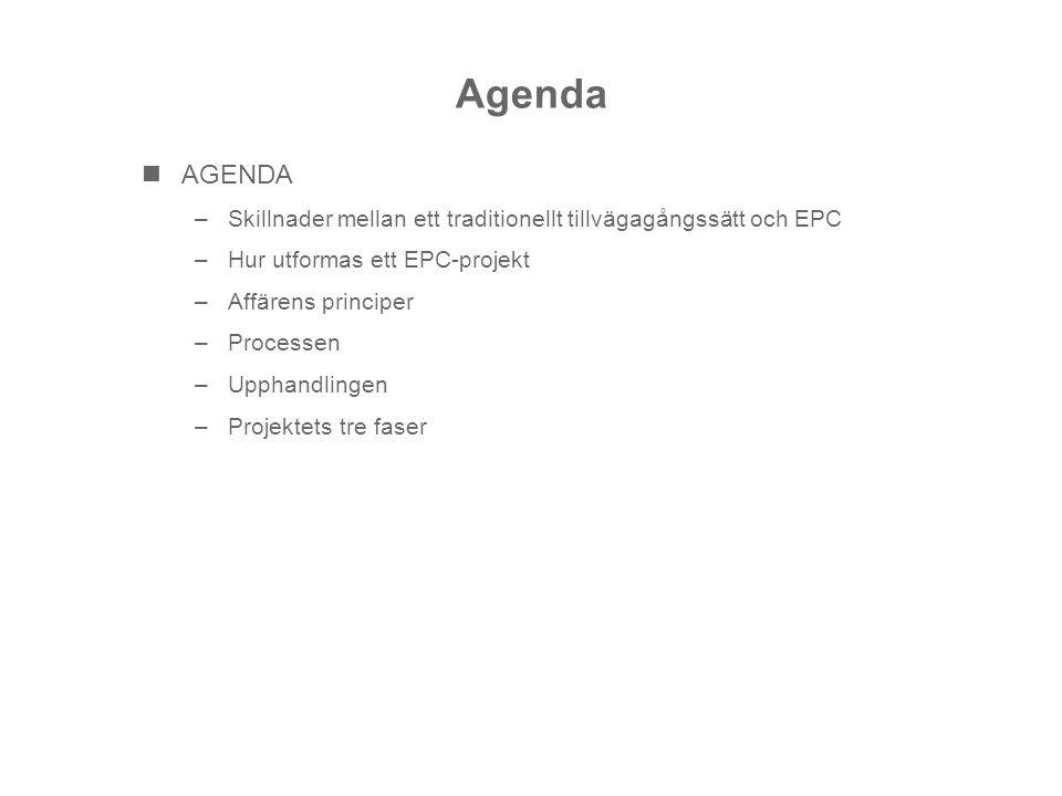 Agenda AGENDA –Skillnader mellan ett traditionellt tillvägagångssätt och EPC –Hur utformas ett EPC-projekt –Affärens principer –Processen –Upphandling