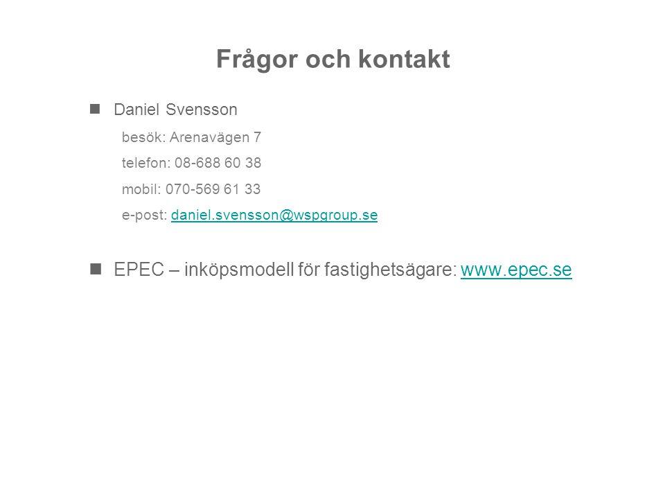 Frågor och kontakt Daniel Svensson besök: Arenavägen 7 telefon: 08-688 60 38 mobil: 070-569 61 33 e-post: daniel.svensson@wspgroup.sedaniel.svensson@w