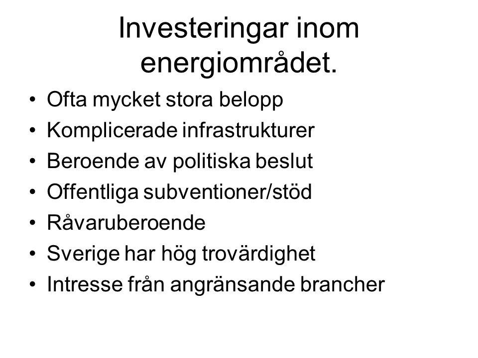 Investeringar inom energiområdet. Ofta mycket stora belopp Komplicerade infrastrukturer Beroende av politiska beslut Offentliga subventioner/stöd Råva