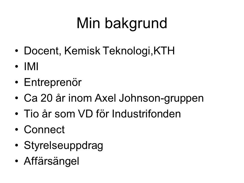 Min bakgrund Docent, Kemisk Teknologi,KTH IMI Entreprenör Ca 20 år inom Axel Johnson-gruppen Tio år som VD för Industrifonden Connect Styrelseuppdrag