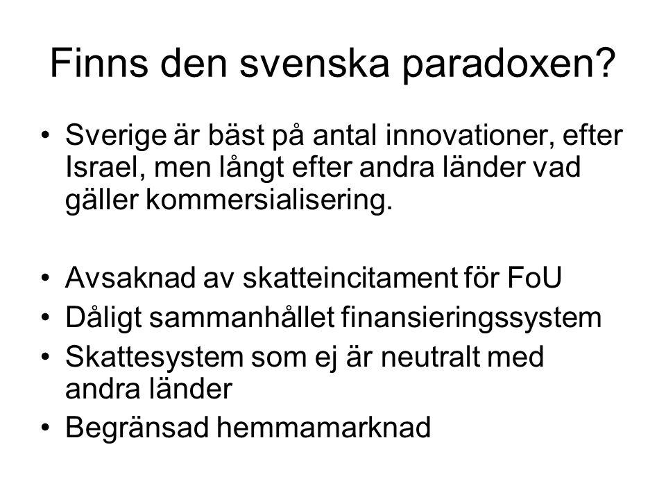 Finns den svenska paradoxen? Sverige är bäst på antal innovationer, efter Israel, men långt efter andra länder vad gäller kommersialisering. Avsaknad