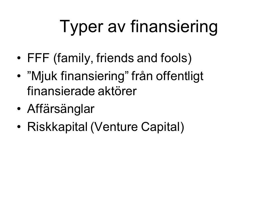 """Typer av finansiering FFF (family, friends and fools) """"Mjuk finansiering"""" från offentligt finansierade aktörer Affärsänglar Riskkapital (Venture Capit"""
