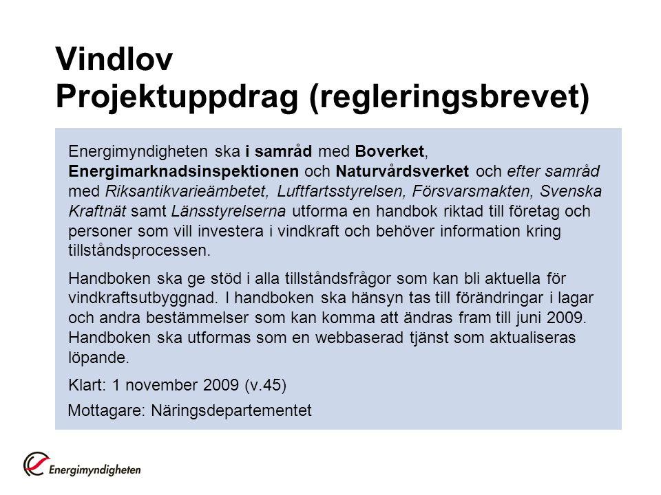 Vindlov Projektuppdrag (regleringsbrevet) Energimyndigheten ska i samråd med Boverket, Energimarknadsinspektionen och Naturvårdsverket och efter samrå