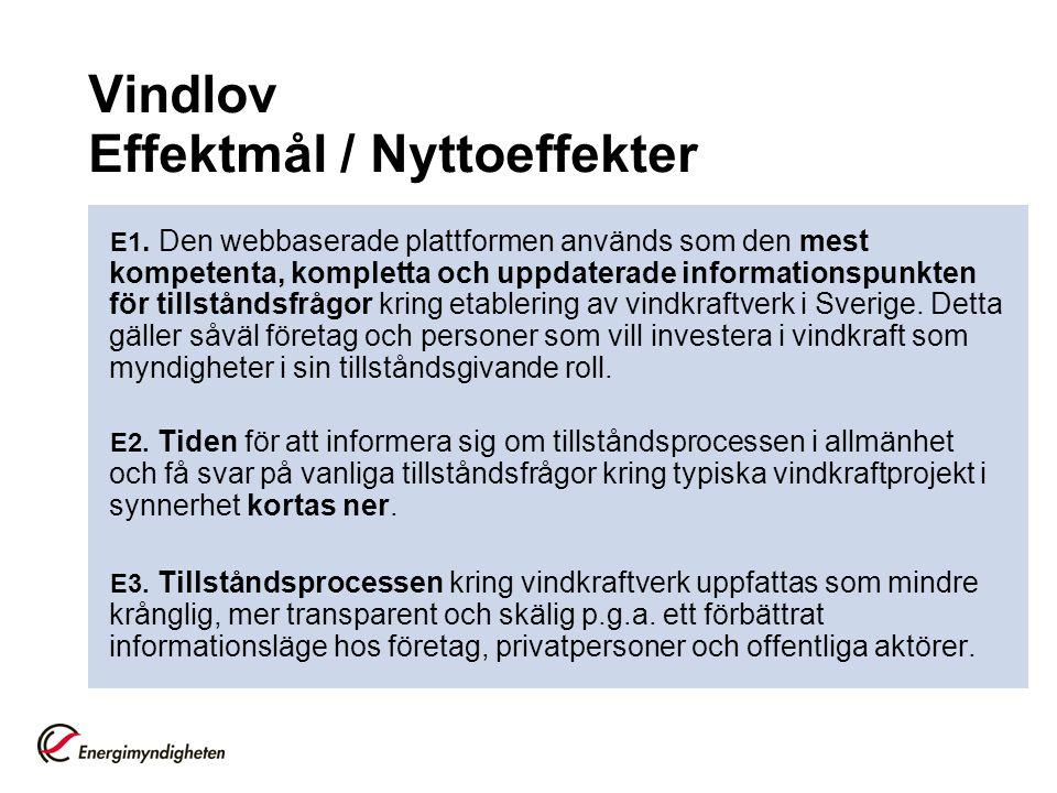 Vindlov Effektmål / Nyttoeffekter E1.
