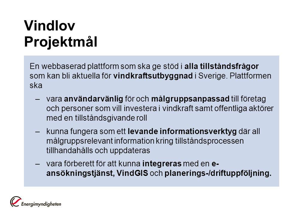 Vindlov Projektmål En webbaserad plattform som ska ge stöd i alla tillståndsfrågor som kan bli aktuella för vindkraftsutbyggnad i Sverige. Plattformen
