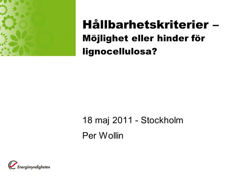 Hållbarhetskriterier – Möjlighet eller hinder för lignocellulosa.